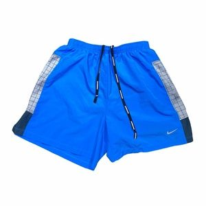 Nike Dri Fit Lined Running Shorts Spellout Blue